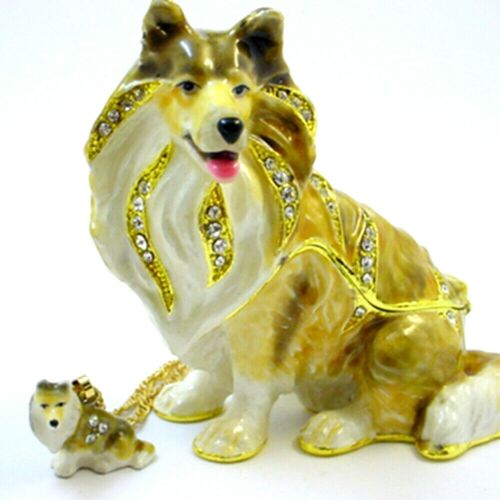 Duke Sheltie Trinket Box with Crystals and Necklace