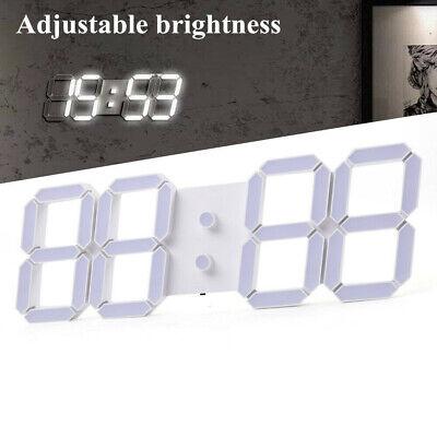 3D Digital Large LED Wall Clock Metal Alarm Clock Remote Control Display Date -