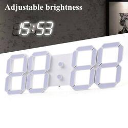 3D Digital Large LED Wall Clock Metal Alarm Clock Remote Control Display Date US
