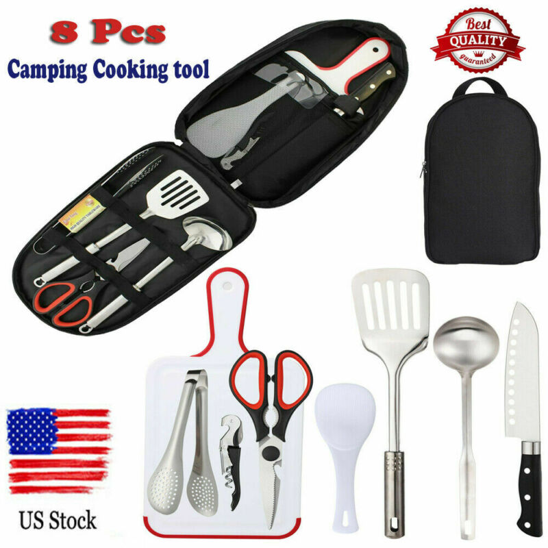8-Piece Cookware Camping Set Outdoor Travel Picnic Cooking Utensils Accessories