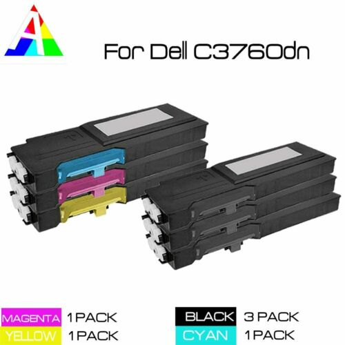 3pk for Dell C3760dn Extra HY Color Cyan Magenta Yellow Printer Toner Cartridge