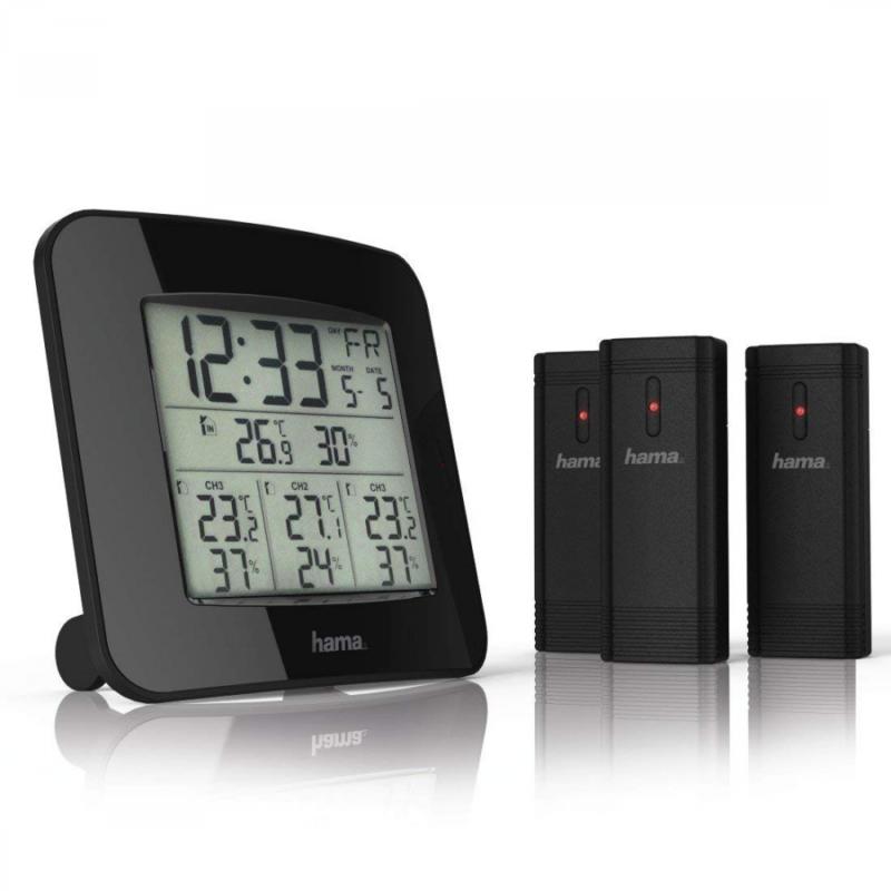 Wetterstation Thermometer Außensensor Innen Außen Wecker Uhr Digital Hygrometer