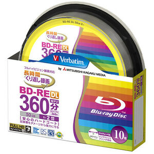 10 Verbatim BD-RE DL 50gb Blu ray Video Disk 50gb 2x Rewritable Blueray Sealed