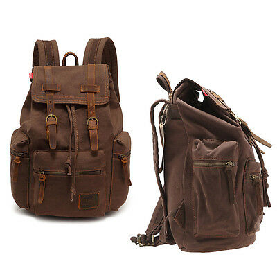 Men Women's Vintage Canvas Leather backpack Rucksack laptop Satchel School Bags