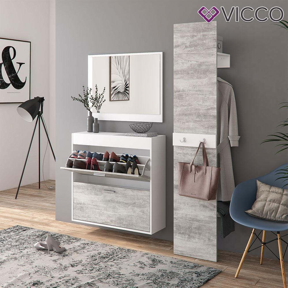Vicco Flurgarderobe San Remo - Garderoben Set Spiegel Schuhschrank Wandpaneel