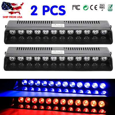 2X12 LED Strobe Lamps SUV ATV Hazard Emergency Flashing Warning Light Bar B/R