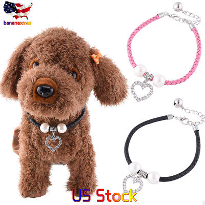 Bling Rhinestone Crystal Dog Cat Pet Collar Puppy Pearls Necklace Choker Collars - Puppy Necklace