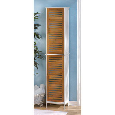 "Linen Cabinet - Modern 75"" Tall White Bamboo Slats Bathroom Linen Towel Cabinet Shelf Cubby"