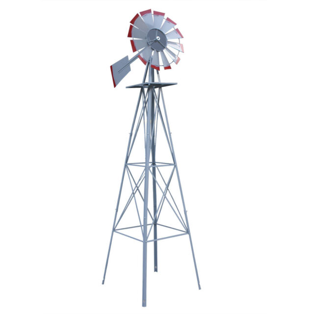 8ft Ornamental Windmill Garden Backyard   Galvanized With Red Tips Silver