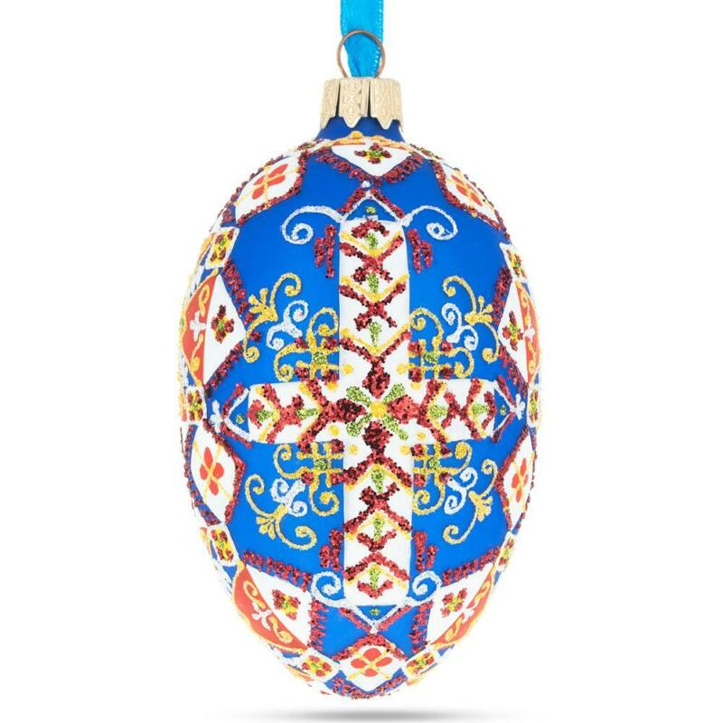 Statue of Liberty Ukrainian Style Glass Egg Ornament