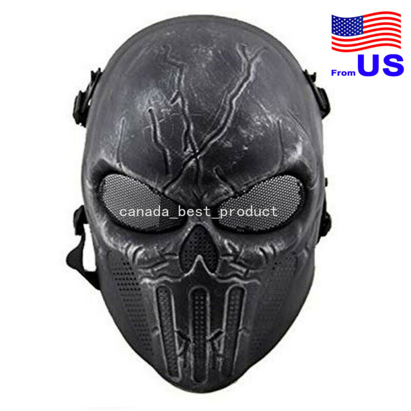 Tactical Military Skull Skeleton Full Face Mask Halloween Cosplay Silver BK USA