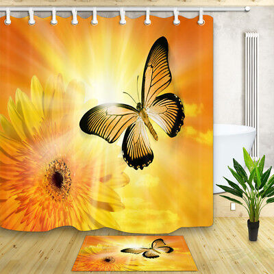 Butterfly and golden sunflower Bathroom Decor Shower Curtain Fabric & 12 Hooks - Butterfly Bathroom