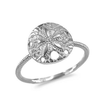 .925 Sterling Silver Twisted Rope Band Sand Dollar Ring Star Sea Cookie Snapper - Sand Dollar Cookies
