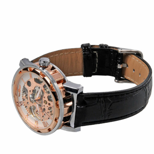 Mens Gold Leather Band Analog Wrist Mechanical Stainless Steel Watch Skeleton