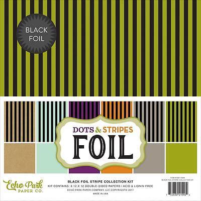 Scrapbooking Crafts Echo Park 12X12 Paper Kit Black Foil Stripes Halloween Color - Halloween Coloring Paper