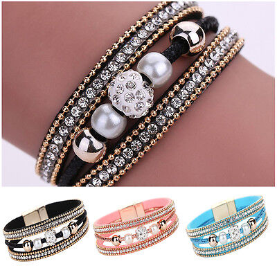 Women Multilayer Bangle Bracelet Crystal Beaded Leather Magnetic Wristband Gift ()