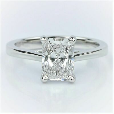 1.50 Ct Radiant Cut Solitaire Diamond Engagement Ring I,SI1 GIA 18K WG, YG or RG