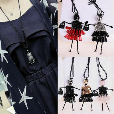 Fashion Ladies Crystal Girl Pendant Long Chain Sweater Necklace Jewelry New