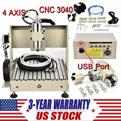 4 Axis Usb Cnc3040t Router Engraver Desktop Engraving Drilling Milling Machine