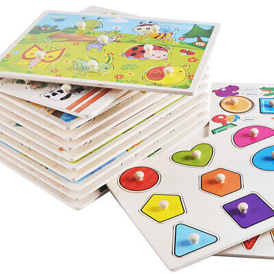 Peg Puzzles Toys - Wooden Peg Puzzles Grab Board Puzzle Toy Children Learning Toys for Toddler Baby