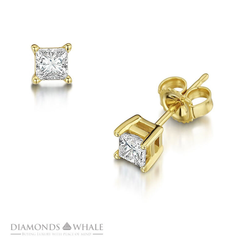 18k Yellow Gold Princess Stud Diamond Earrings 0.8 Ct Vs2/e Wedding Enhanced