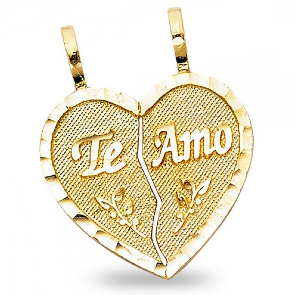 b6101ecfdf 14k Yellow Gold Heart Te Amo Broken Heart Pendant Breakable Love Couples  Charm