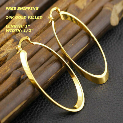 New Women Fashion Jewelry 14K Gold Filled Small Oval Hoop Drop Dangle Earrings 14k Gold Fill Earrings