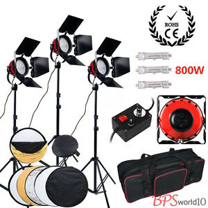 Pro 2400W Red Head Studio Continuous Lighting Kit Video Readhead Light Reflector