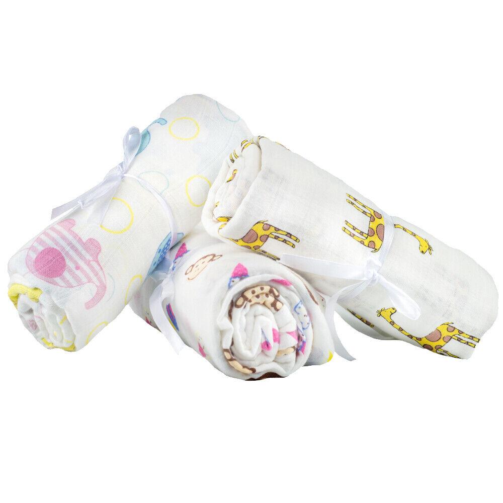 2 Pcs Set Newborn Swaddle Blankets Cotton Crib Bed Baby Boy