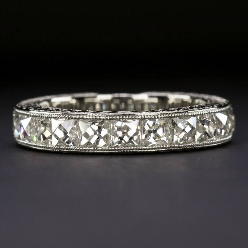 2.20ct H-I VVS FRENCH CUT DIAMOND RING WEDDING BAND VINTAGE WHITE GOLD ANTIQUE