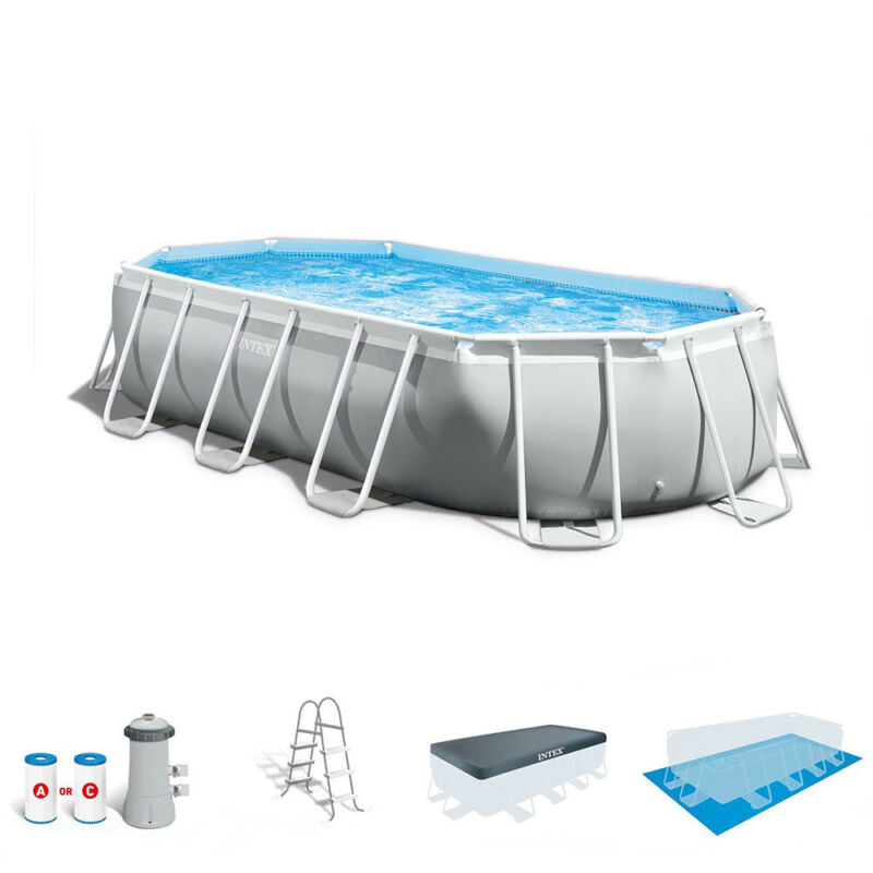 Intex 16.5 x 4 Foot Prism Frame Rectangular Above Ground Swimming Pool Pump Set