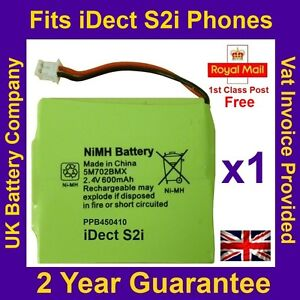 New iDECT S2i Rechargeable Cordless Phone Battery Pack NiMH 2.4v 600mah UK Ni-MH