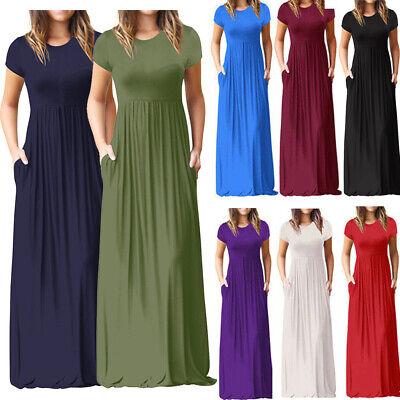 Plus Size Womens Short Sleeve Maxi Loose Long Dress Evening Party Shirt Sundress