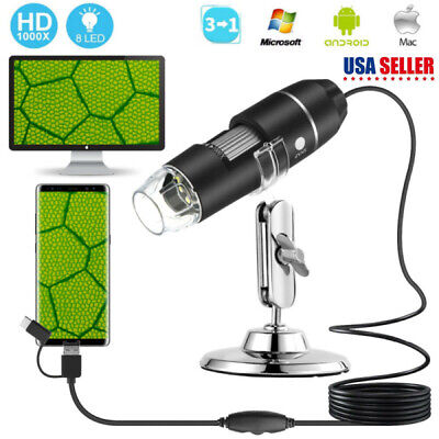 3 In1 1000x Usb Microscope Magnifier For Pc Android Cellphone With Stand