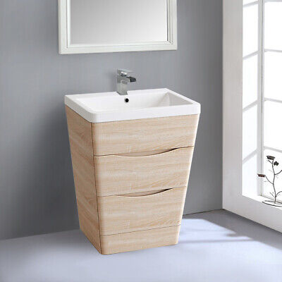 600mm Bathroom Vanity Unit Basin Sink Storage Cabinet Modern Furniture Light Oak for sale  Lincoln