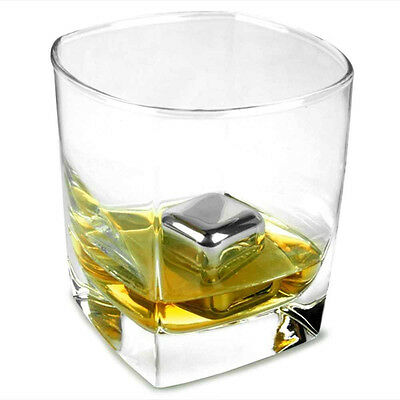40x Reusable Stainless Steel Ice Cubes Metal Scotch Stones Whisky Rocks Wine Bar