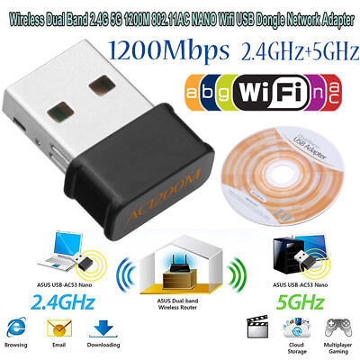 Wireless Dual Band 2.4+5G 1200Mbps 802.11AC NANO USB Wifi Dongle Network Adapter Nano 5g Usb