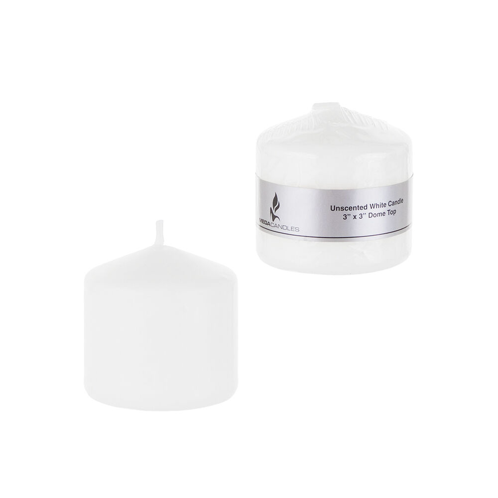 "Mega Candles - Unscented 3"" x 3"" Round Pillar Candle - White"