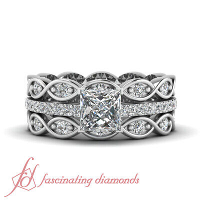 1.50 Ct Princess Cut Best Engagement Rings With 2 Infinity Diamond Wedding