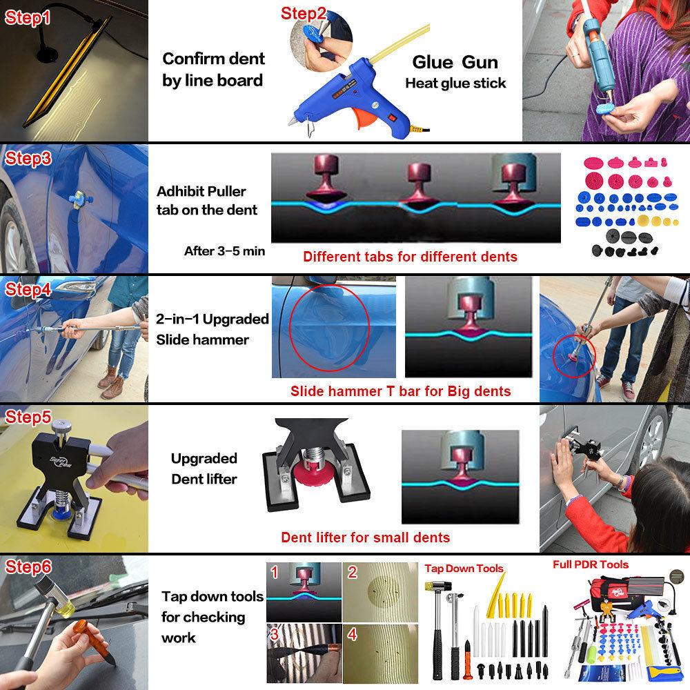 $ 10 - Paintless Dent Repair PDR Tools Slide Hammer Puller Hail Removal Body Tap US Kit
