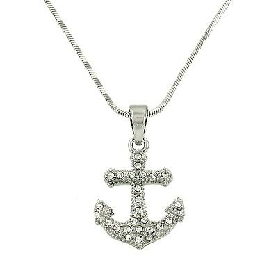 "Anchor Charm Pendant Necklace - Sparkling Crystal - 17"" Chain - 2 Colors"