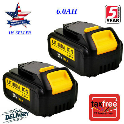 2XFor DeWalt 20V 20 Volt Max XR 6.0AH Lithium Ion Battery Pack DCB204-2 DCB206-2