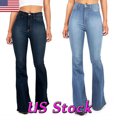 Women Flared Denim Jeans Bell Bottom Wide Leg Pants Hippie Trousers Plus Size US - Plus Size Bell Bottoms