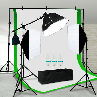 Photo Studio 3 Softbox Photography Light Stand Continuous Lighting Kit NEW