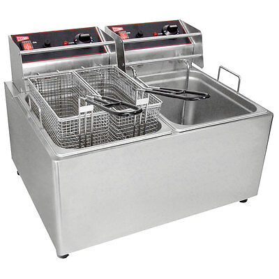 Gmcw El2x25 Electric Deep Fryer Counter Top W Two 15lb Removable Tanks