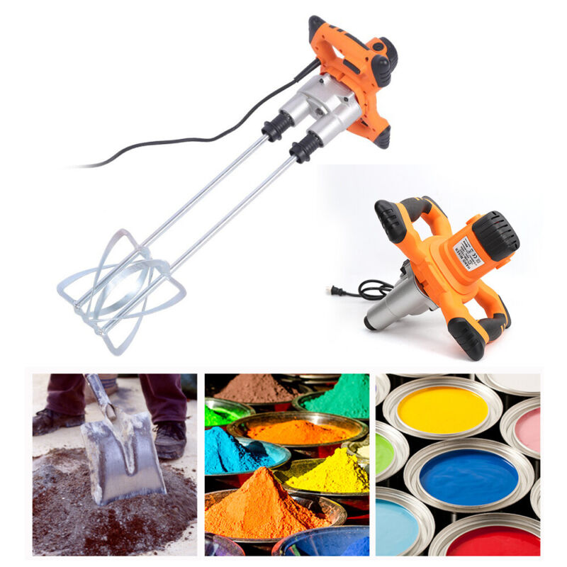 Twin Paddle Heavy Duty Powerful Mixer for Plaster Paint Cement Mortar 1400W 110V