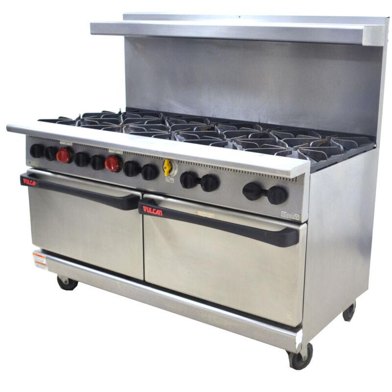 "Vulcan G60L Dev. No. 1 60""-Wide 10-Burner 2-Oven Gas Restaurant Range 32,000 BTU"