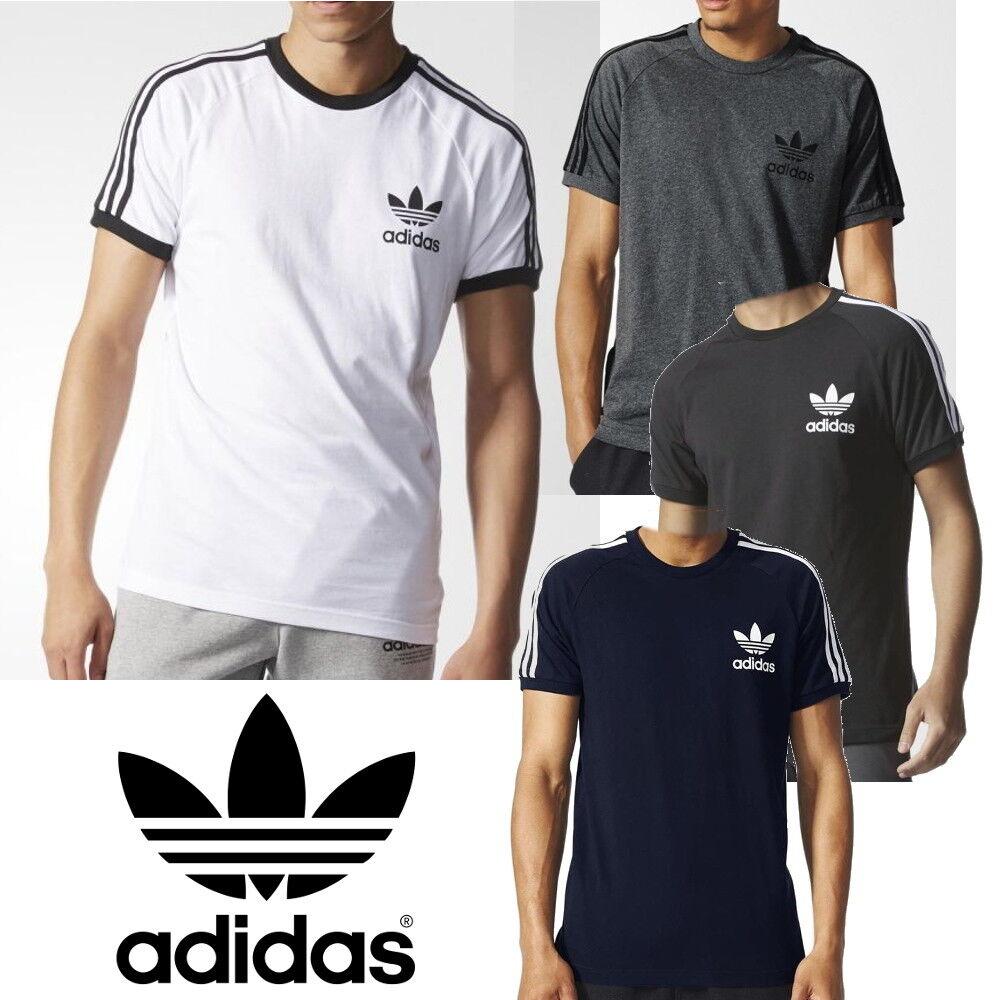 Detalles de Adidas Originals para hombre camisetas California Trébol 3 Rayas Camiseta Deportiva Clásica ver título original