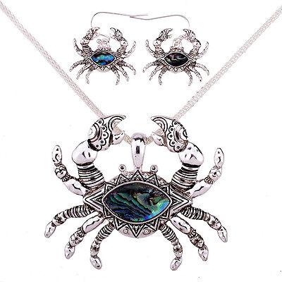 Crab Fashionable Necklace   Earrings Set   Abalone Paua Shell   18  Chain