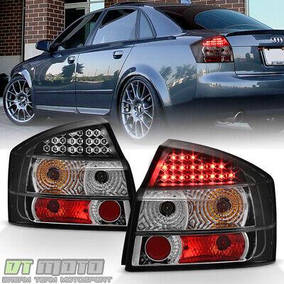 Black 2002-2005 Audi A4 S4 Sedan LED Tail Lights Brake Lamps Left+Right